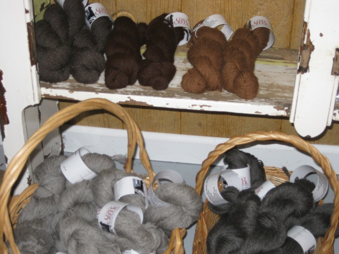 Some of the yarn for sale made out of alpaca fiber