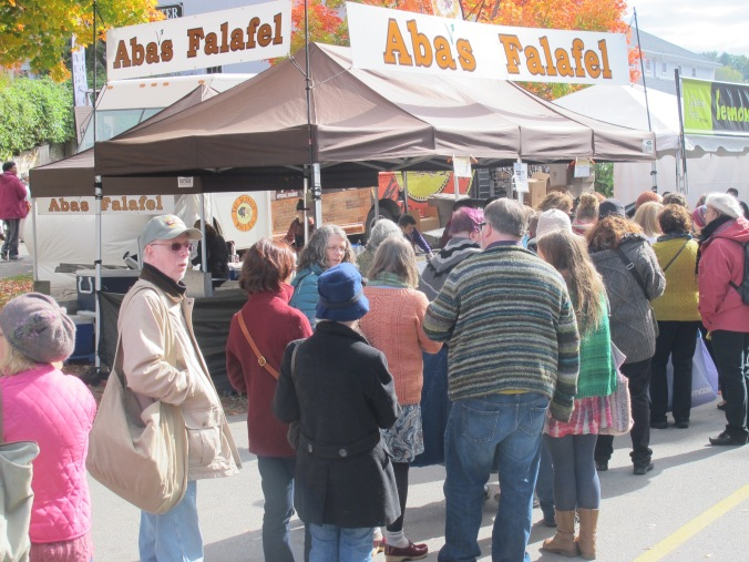 Lunch line at Aba's falafel